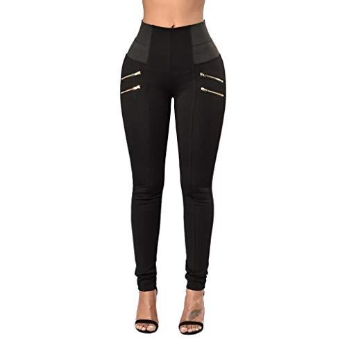 WOZOW Damen Dünn Skinny Stoffhose Solid Color Block Patchwork High Waist Zipper Sweathose Chino Hose Casual Slim Lang Long Stoffhose Trousers ()