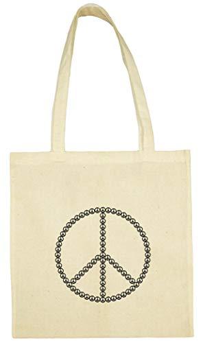 Textildruck Universum Baumwolltasche Peacezeichen aus Peace - Zeichen Stoff Jütebeutel (Natur) -