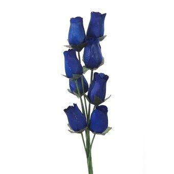 Roses en bois Bleu marine - 8 tiges simples Rose dans un petit bouquet de fleurs
