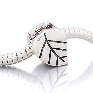 "Andante-Stones Silber Bead Clip Stopper ""Blatt"" Element Kugel für European Beads + Organzasäckchen"