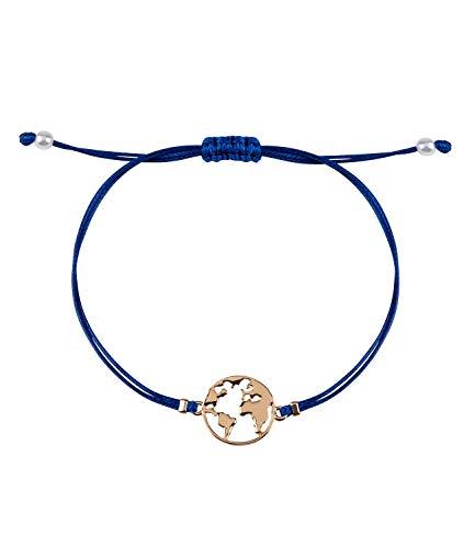 SIX Damen Armband, Welt, Kugel, gestanzt, Textilband, Perlen, Gold, blau (782-186)