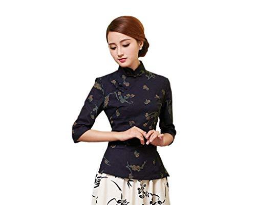 Blusa Mujer Primavera Otoño Elegantes Moda Stand Cuello Manga Larga Shirt Patrón De Flores Especial Estilo Vintage Cheongsam Estilo Chino Camisas Casual Tops