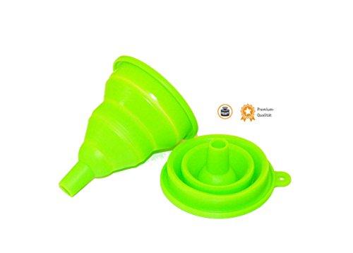 Kerafactum® - rund grüner Falttrichter Minitrichter 2 fach faltbar Trichter Silicon Mini funnel Silikon - Einfüller Einfüllhilfe