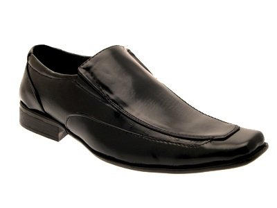 NEW MENS FAUX LEATHER ITALIAN DESIGNED FORMAL SLIP ONS MOCK CROC PATENT PANEL WEDDING SHOES BLACK SIZE 7