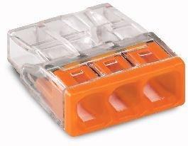 100 Stück Wago Verbindungsklemme 3 Leiter 0,5-2,5 qmm orange von Wago - Lampenhans.de