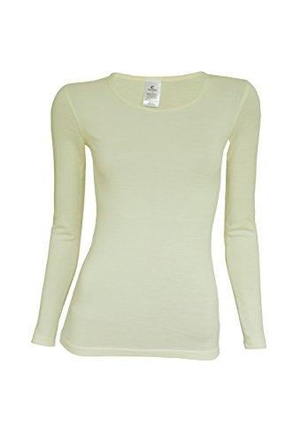 Utenos lana merino Ultra morbida maglia a maniche lunghe Donna Base Layer Made in EU Ivory Medium
