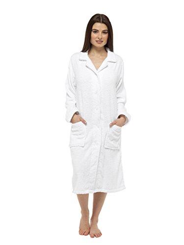 Reine Baumwoll-Knopf-Frottee-Robe (L/XL- 16-18, weiß) Reine Baumwolle, Frottee-bademantel