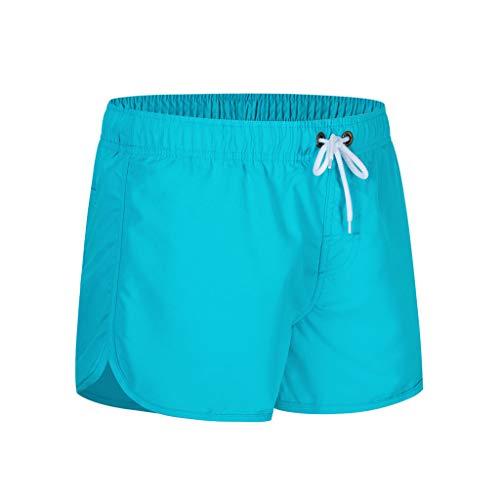 MOTOCO Herren Shorts Badehose schnell trocken Strand Surfen Laufen Schwimmen elastische Taille gespleißt Watershort Hose(XL,Hellblau)