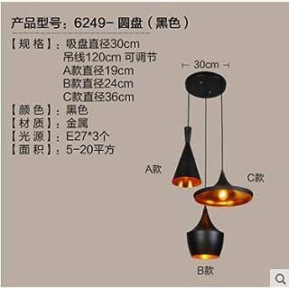 Lx.AZ.Kx Modern Nordic Restaurant Light Instrument Pendant Light, Black Disc with 3 Heads Without Wood
