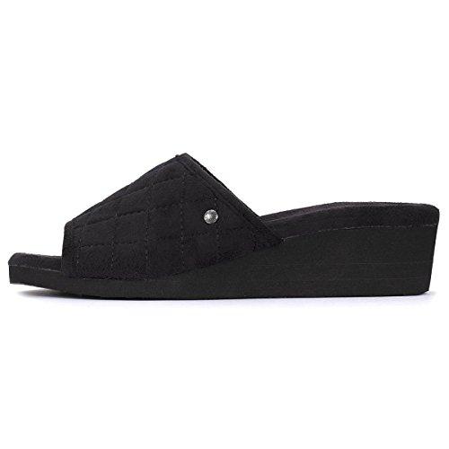 Isotoner Chaussons sandales femme à talon Femme Noir