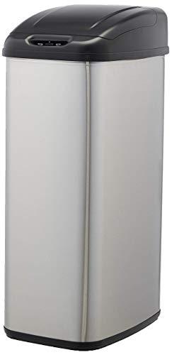 AmazonBasics - Pattumiera in acciaio inox, automatica, per piccoli spazi, da 50 litri