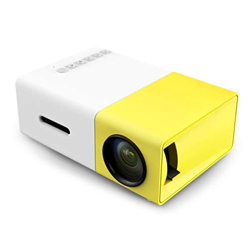 Portable Mini-Projektor, Smartphone-Bildschirm LED Projektor 400-600LM 1080 p 320 x 240 Pixel für Video/Film/Spiel/Heimkino Beamer synchronisieren,Yellow,EUplug