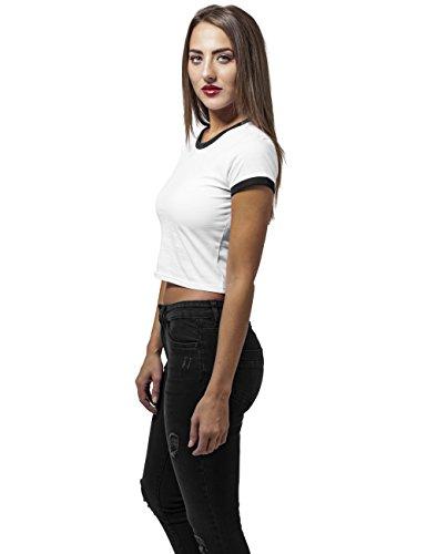 Urban Classics TB1502 Damen T-Shirt Ladies Cropped Ringer Tee Mehrfarbig (wht/blk 224)