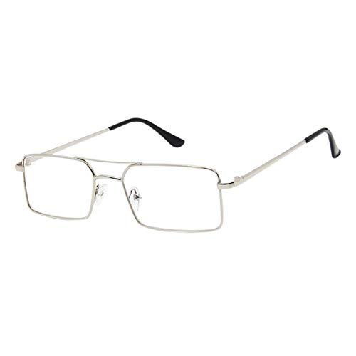 HPTAX-VB Spiegeln Anti-Uv-Augenschutzbrille - Doppelbrücke Vintage Brillen Metall Rechteckrahmen Spiel Video Klare Linse Unisex-Brille
