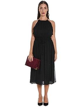 Michael Kors Damen MU78X136PC001 Schwarz Polyester Kleid