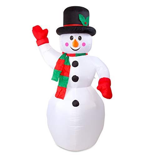 Julido Weihnachtsdekoration Aufblasbarer Schneemann XXL 240cm LED Beleuchtung Befestigungsmaterial Snowman