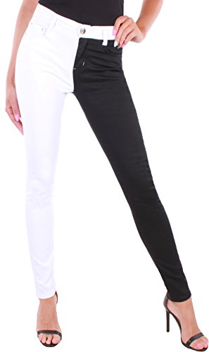 Skinny Nieten Jeans (Damen Jeans Röhrenjeans High Waist Stretch Hose Skinny Schwarz/Weiß ☆A9015 (38/M))