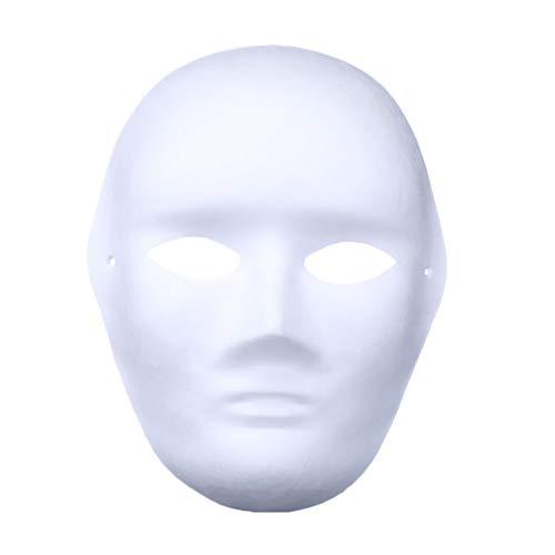 CAOLATOR Weiße Maske DIY Zellstoff Blank Maske Mann Muster Unlackiert Maskerade Maske Freie Design für Venezianischen Karneval Halloween Cosplay - Weiße Maskerade-masken Männer Für