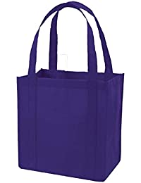 (Set Of 25) Heavy Duty Grocery Shopping Tote Bag W/Strong Reinforced Handles (PURPLE)