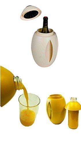 egg-o Weinkühler beige + 1 Literflasche zum befüllen von Milch,Säfte und weiteren Getränken immer alles cool am Platz