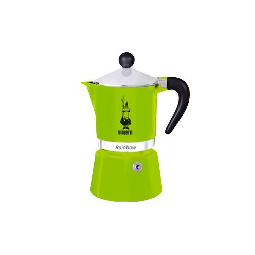 Bialetti 4973 Espressokocher Rainbow für 6 Tassen in Aluminium, Grün, 30 x 20 x 15 - Herd-kaffee-topf Auf