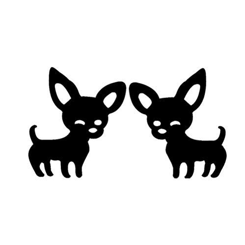Hübsche Chihuahua Shadow Silhouette Ohrstecker Edelstahl Schwarz mit hohlem Ausschnitt Ohren & glatt glänzende Oberfläche Haustier Hund Welpe mexikanisch
