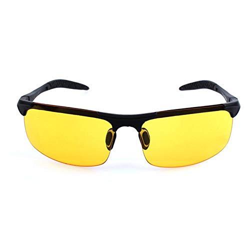 xinzhi Fahrrad-Sonnenbrillen, Herren-Sonnenbrillen polarisierte Sonnenbrillen Brille Imitation Aluminium Magnesium Brille - Black Frame Night Vision
