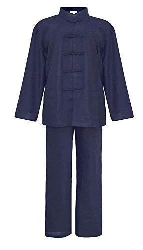 FHKL Tai Chi Ropa De Uniforme Estilo Chino Traje Tang Camisa De Manga Larga Traje Opcional Algodón Y Lino,Navy Blue-190
