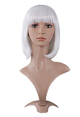 MapofBeauty 30cm/ 12 Pouce Court Droit Femmes Droit Perruques (Blanc)