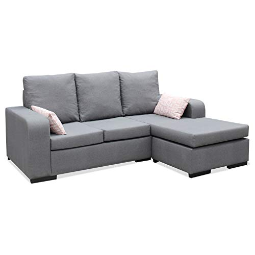 Muebles Baratos Sofa ChaiseLongue, Montado, Color Gris, 3 plazas, Antimanchas, ref-03A