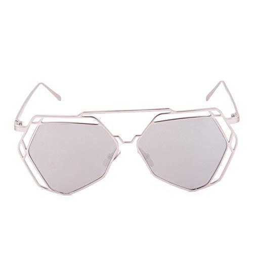 Frauen Sonnenbrille, großer Spiegel Hexagon UV400 aushöhlen Silber frame Weiß lens