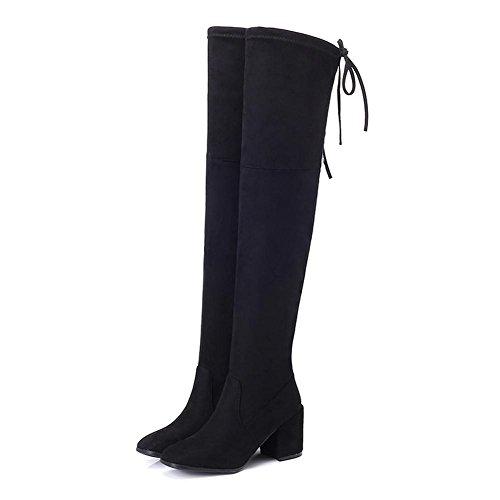 donne tacchi alti stivali lunghi sopra il ginocchio in pelle spessa peluche caldo scarpe allacciatura, BLACK-39 BLACK-39