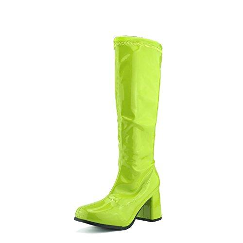 Damen Knie Hoch Hoch Block Ferse Lange Stiefel - UK 4/EU 37, Grün