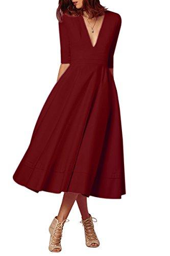 YMING Damen Festliches Kleid Midikleid Vintage Cocktailkleid Schwing Kleid Partykleid Übergröße,Burgundy,XXL,DE 44 46 Vintage-kleid