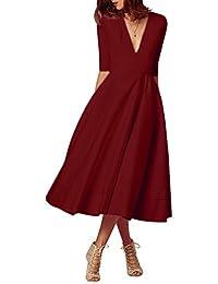 YMING Femme Robe de Cocktail Vintage Manches 1/2 Robe Col V Swing Robe Midi