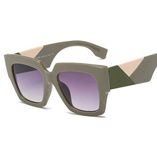 DX Fashion Big Frame, europäische und amerikanische Damenbrille mit dreifarbigem Rahmen, UV-Schutz, polarisierte Sonnenbrille (Farbe: grüner Rahmen, graue Linse)