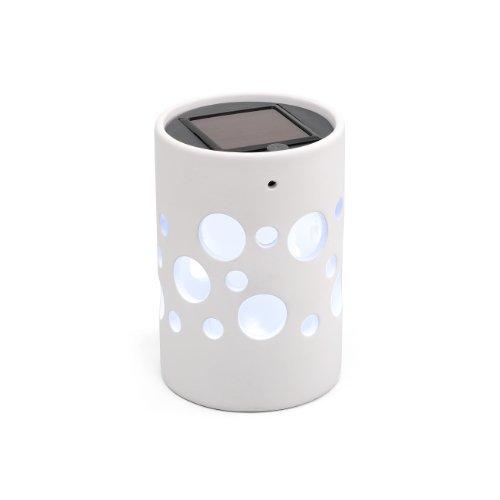 Konstsmide Genova 7800-200  Solarleuchte LED B: 9,5cm T: 9,5cm H: 14cm / Keramik / weiß - Keramik-9.5