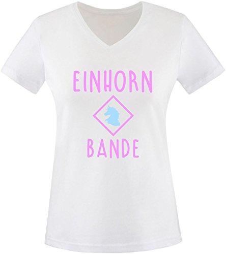 EZYshirt® Einhorn Bande Damen V-Neck T-Shirt Weiss/Rosa/Hellbl