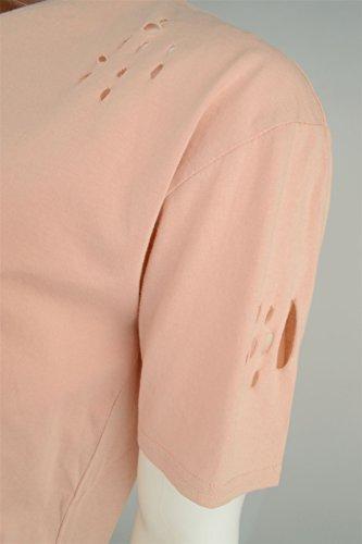 Brave Soul 'Benji' Herren Longline Mehr-Tasche Vintage Rundhalsausschnitt T-Shirt Sommer Rosa