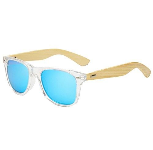 QQBL Männer und Frauen Allgemeine Mode Holz Harz Kunststoff UV400 Sichtbares Licht Perspektive 95 (%) PC Polarisierte Bambus Bein Sonnenbrillen,Blue