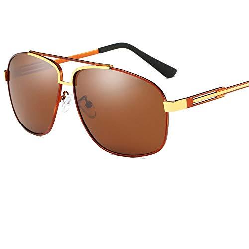 Retro-Polarisator/quadratische Metall-Sonnenbrille/Sonnenbrille für Damen und Herren/Brillen mit großem Rahmen/Silikon-Nasenpads/UV/Driver-Sonnenbrille, braun, 146 * 58mm