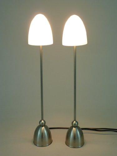 """2 x """"Valenzia"""" filigrane elegante Halogen Tischleuchten, Nachttischlampen mit feinem weissem Opalglas, inklusive G9, max. 40 W, """"Valenzia"""""""