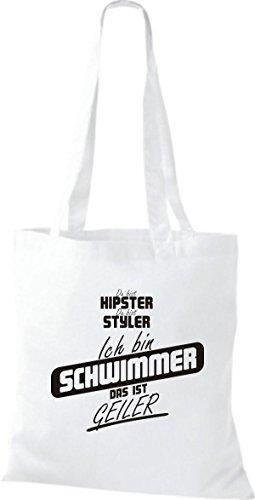 Shirtstown Stoffbeutel du bist hipster du bist styler ich bin Schwimmer das ist geiler weiss