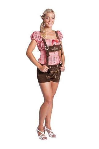 Damen Trachten Lederhose kurz mit Hosenträgern - Original FROHSINN dunkelbraun (36)