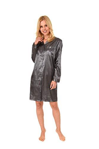 NORMANN WÄSCHEFABRIK Elegantes Satin Nachthemd mit Langen Ärmeln zum durchgeknöpfen - 61511, Farbe:anthrazit, Größe2:44/46
