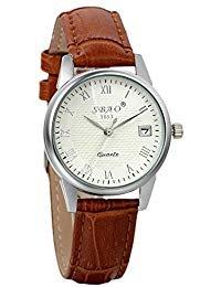 Avaner Damen Armbanduhr Analog Quarzwerk mit Leder Armband Kalender Uhr Braun Avaner002-01