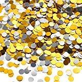 TecUnite 3,5 oz Konfetti Punkte Silber und Gold Glitter Konfetti Kreise 1/4 Zoll Metallisch Punkte Konfetti für Geburtstag Ho