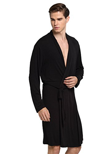 YiLianDa Herren Bademantel Morgenmantel Nachtwäsche Kimono Saunamantel Bindegürtel L