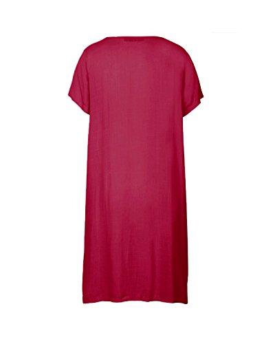 ZANZEA Femmes Grand Taille Manches Courtes Casual Baggy Longue Tunique Tops Kaftan Shirt Robe Vin Rouge