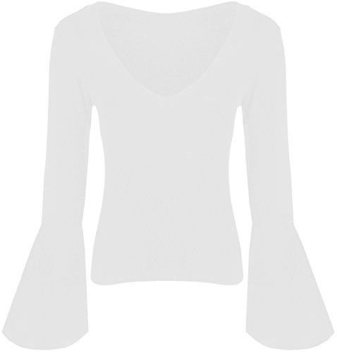 Neu Damen Flare Lange Hülse V Hals Viskose Tops 36-50 White